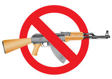 Stop terror. Ak-47 and the interdiction symbol on the white background vector illustration