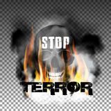 Stop terror in the fire smoke and skull. With an inscription in a ragged style. Isolated objects can be used with any image, text or background Royalty Free Stock Photos