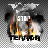 Stop terror in the fire smoke and skull World map. Stop terror in the fire smoke and skull with an inscription in a ragged style and World map. Isolated objects Royalty Free Stock Image