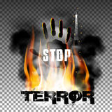 Stop terror hand in the fire smoke Eiffel Tower. Inscription stop terror against a background of fire smoke with the hand and the Eiffel Tower. Isolated objects Royalty Free Stock Photo