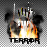 Stop terror hand in the fire smoke Eiffel Tower Statue of Liberty. Stop terror against fire smoke with the hand, the statue of liberty and the Eiffel Tower Stock Photos