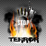 Stop terror hand in the fire smoke The Statue of Liberty. Stop terror against a background of fire smoke with the hand, the statue of liberty. Isolated objects Royalty Free Stock Image