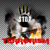 Stop terror hand and Kalashnikov machine gun in the fire smoke Royalty Free Stock Photo