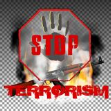 Stop terror hand and Kalashnikov machine gun in the fire smoke Stock Photography