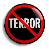 Stop Terror Sign. Anti terrorism campaign badge isolated on white Royalty Free Stock Photos