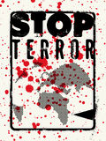 Stop terror. Typographic grunge protest poster. Vector illustration. Royalty Free Stock Photos