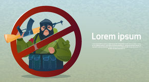 Stop Terrorism Armed Terrorist Group Black Mask Hold Weapon Machine Gun Stock Photo