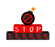 Stop terrorism on block with bomb. Stock Image