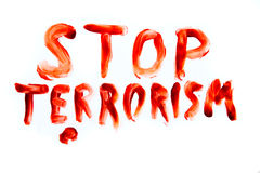 Stop Terrorism bloody words Royalty Free Stock Photo