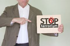 Stop terrorism concept. man in a jacket royalty free stock images