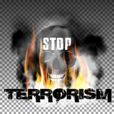 Stop terrorism in the fire smoke and skull. With an inscription in a ragged style. Isolated objects can be used with any image, text or background Royalty Free Stock Photo