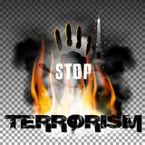 Stop terrorism hand in the fire smoke Eiffel Tower. Inscription stop terrorismr against a background of fire smoke with the hand and the Eiffel Tower. Isolated Stock Photo