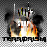 Stop terrorism hand in the fire smoke Eiffel Tower Statue of Liberty. Stop terrorism against fire smoke with the hand, the statue of liberty and the Eiffel Tower Royalty Free Stock Image