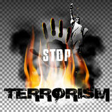 Stop terrorism hand in the fire smoke The Statue of Liberty. Stop terror against a background of fire smoke with the hand, the statue of liberty. Isolated Stock Photography