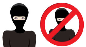 Stop Terrorism. Man in a black mask, thief, terrorist or special force soldier on white background Royalty Free Stock Photo