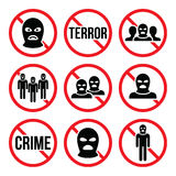 Stop terrorism, no crime, no terrorist group warning signs Stock Images