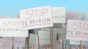STOP TERRORISM placards at street demonstration. Conceptual loopable animation. Placards at street demonstration. Loopable animation stock video
