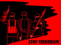 Stop terrorism poster. Armed terrorist fighters surrounded by oil and blood Stock Photos