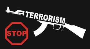 Stop the terrorism sign. With abstract machine gun and text Royalty Free Stock Photos