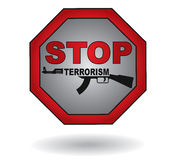Stop the terrorism sign. With abstract machine gun and text Royalty Free Stock Photography