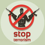 Stop Terrorism Sign Armed Terrorist Stock Image