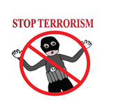 Stop terrorism sign illustration Royalty Free Stock Photography