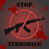 Stop terrorism. Sign urging to stop terrorism Stock Photos