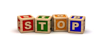 Stop Text Cube Royalty Free Stock Photo