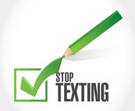 stop texting check mark sign concept Stock Photo