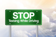 Stop Texting While Driving Green Road Sign Stock Image