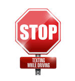 Stop texting while driving road sign illustration Royalty Free Stock Photography