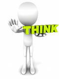 Stop and think. Think word held by 3d white man figure on white background, text in fresh green color, concept of thinking before acting stock illustration