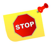 Stop on thumb tacked note. Stop sign on yellow thumb tacked note - vector Stock Images