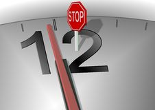 Stop the time. A minute to twelve on a clock and stop sign in front of hands Stock Image