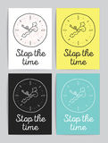 Stop the time cards or posters set. Royalty Free Stock Images