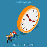 Stop time hard overtime work clock flat isometric vector 3d Stock Photography