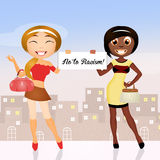 Stop to racism. Illustration of women of different ethnicities stock illustration