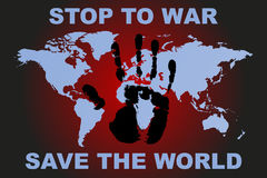 Stop to war poster with human hand print and world map vector Stock Photo
