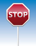 Stop traffic board. Isolated  STOP traffic board with reflection Stock Image