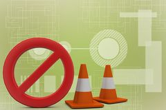 Stop with traffic cones 3d illustration Stock Image