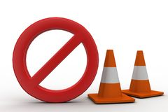 Stop with traffic cones 3d illustration Stock Images