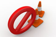 Stop with traffic cones 3d illustration Stock Photos