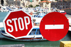 Stop traffic and No Entry signs Stock Photo
