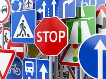 Stop. Traffic road signs on the sky background. Royalty Free Stock Photo