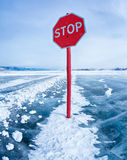 Stop traffic sign on Baikal Stock Photography