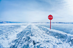 Stop traffic sign on Baikal Royalty Free Stock Photo