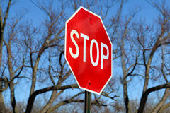 Stop Traffic Sign  On Country Road Stock Photography