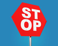 STOP traffic sign over blue gradient Stock Photo