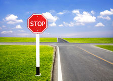 Stop traffic sign pole Royalty Free Stock Image