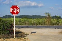 Stop traffic sign of thailand. stock photography